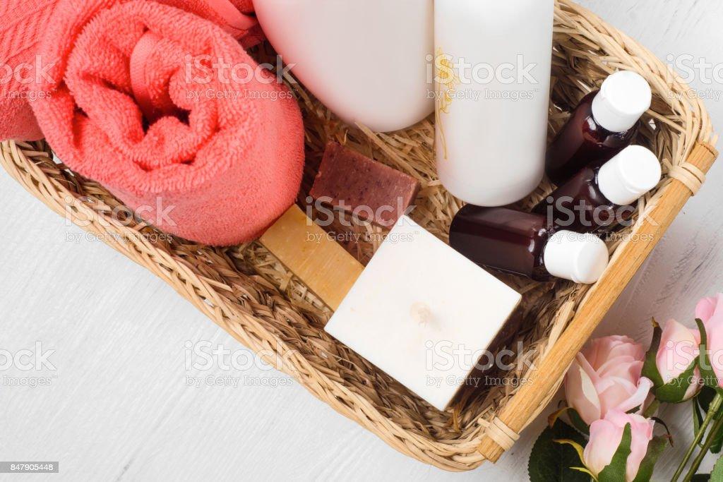Towel cosmetics spa comb hair lotion stock photo