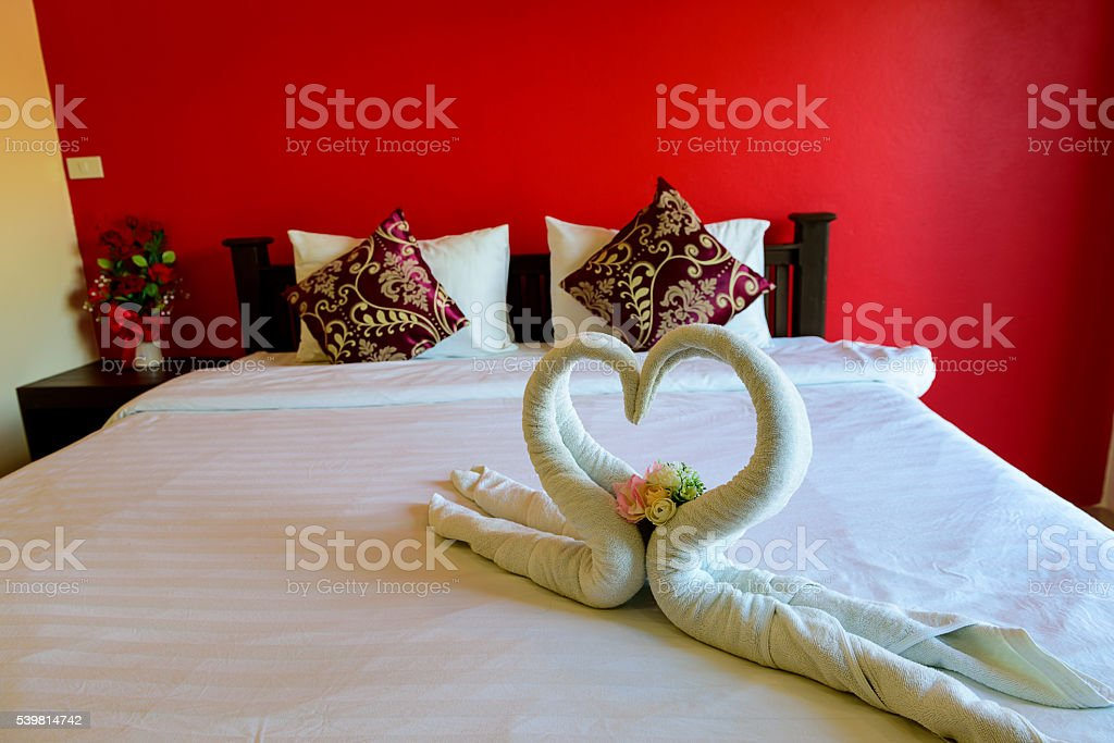 towel decoration in hotel room. stock photo
