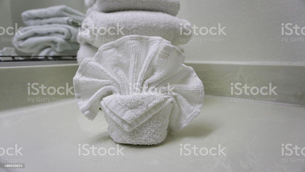Towel folding stock photo