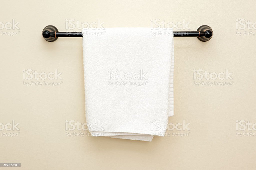 Towel hanging on a rack. stock photo