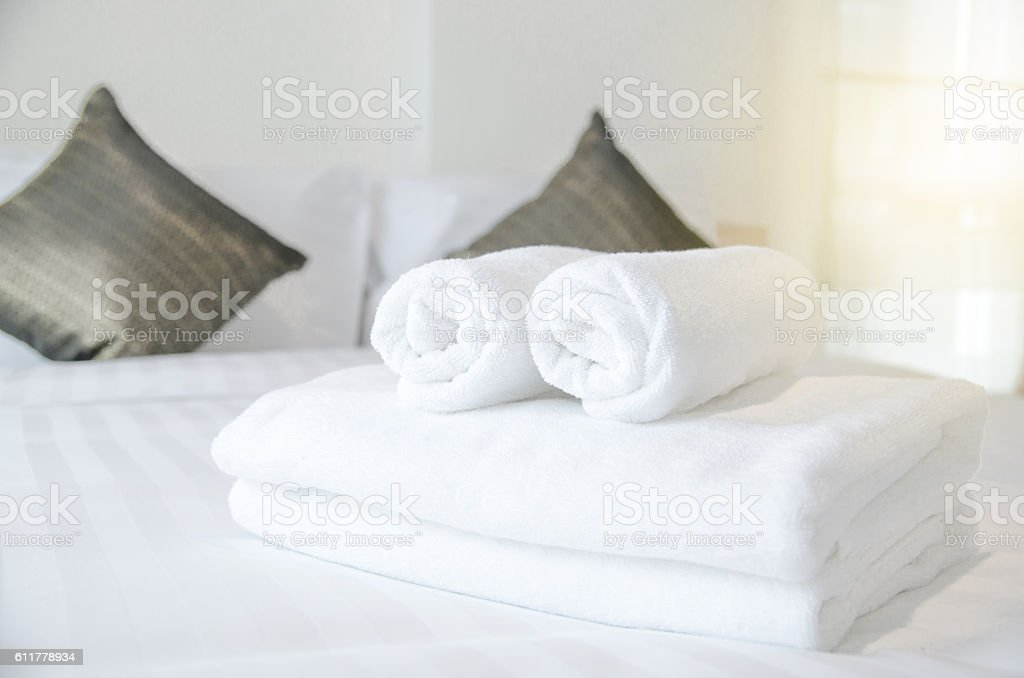 Towel in Hotel Room , Welcome guests , Room service stock photo