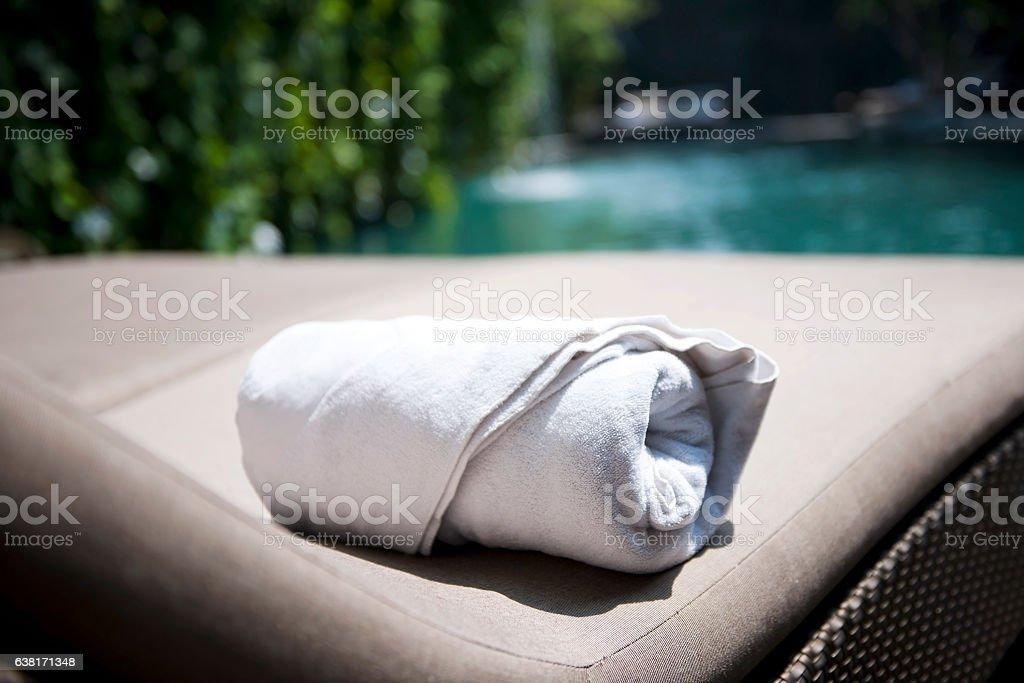Towel in resort stock photo