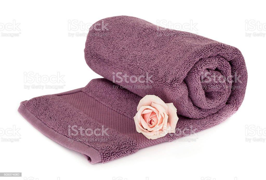 Towel on white background stock photo