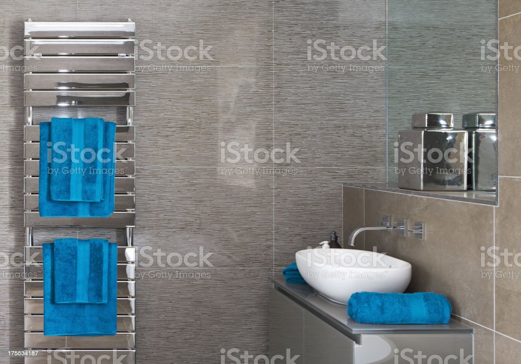 towel radiator and bathroom royalty-free stock photo
