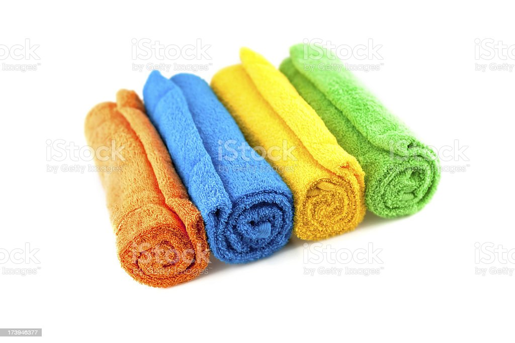 towel rolls in a row stock photo