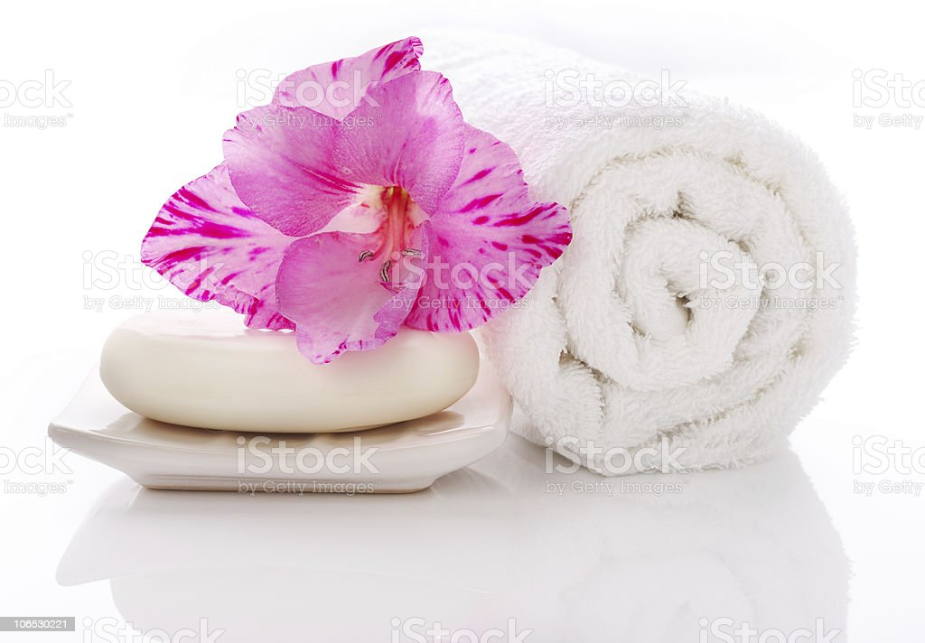 Towel Soap and flower royalty-free stock photo
