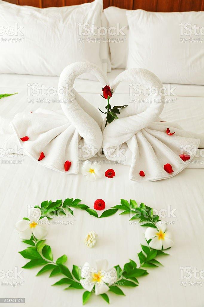 Towel Swan Heart stock photo