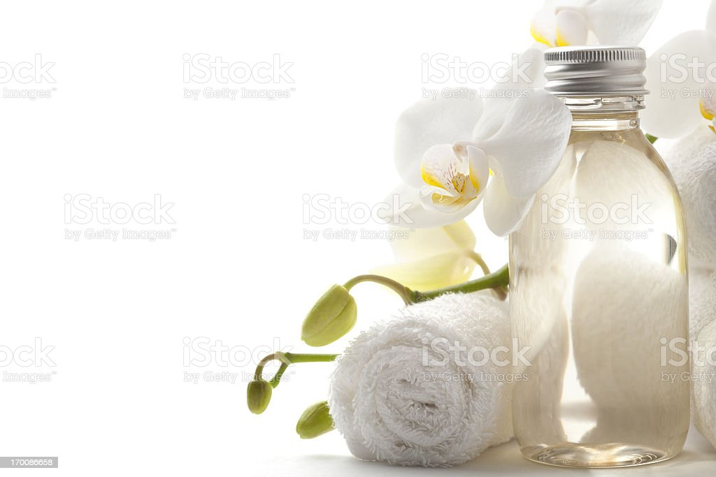 Towel with orchid royalty-free stock photo