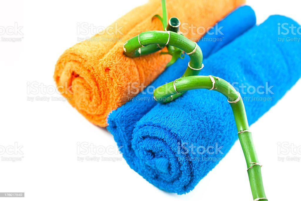 towels and bamboo stock photo