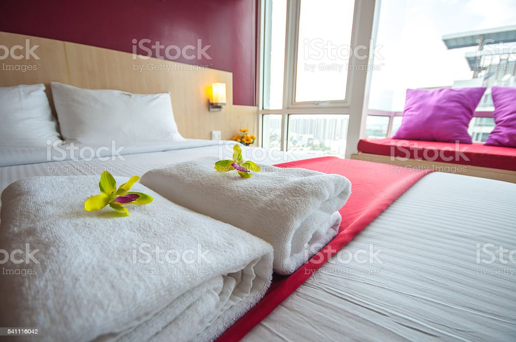 Towels and Beautiful bedroom interior stock photo