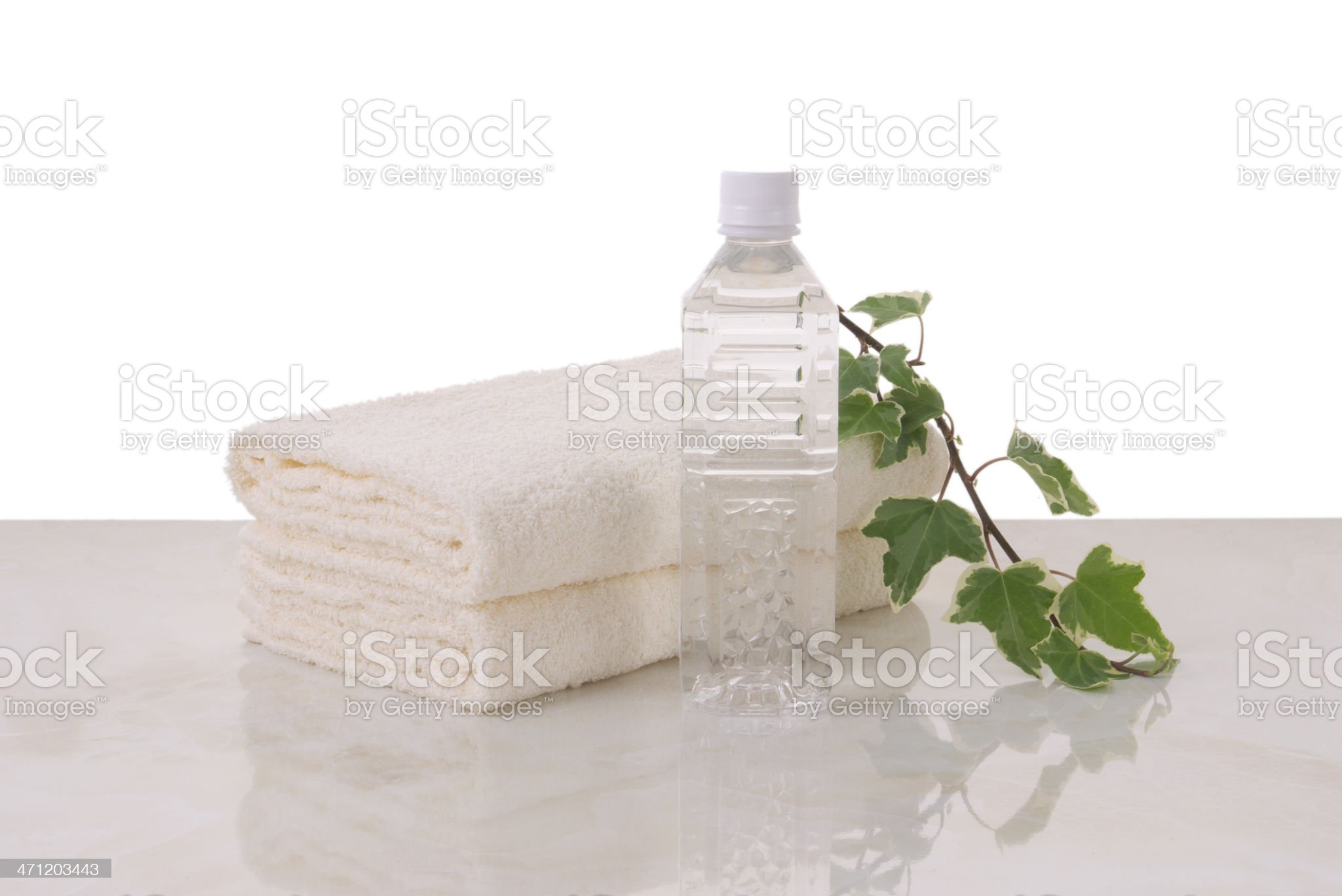 towels and mineral water? royalty-free stock photo