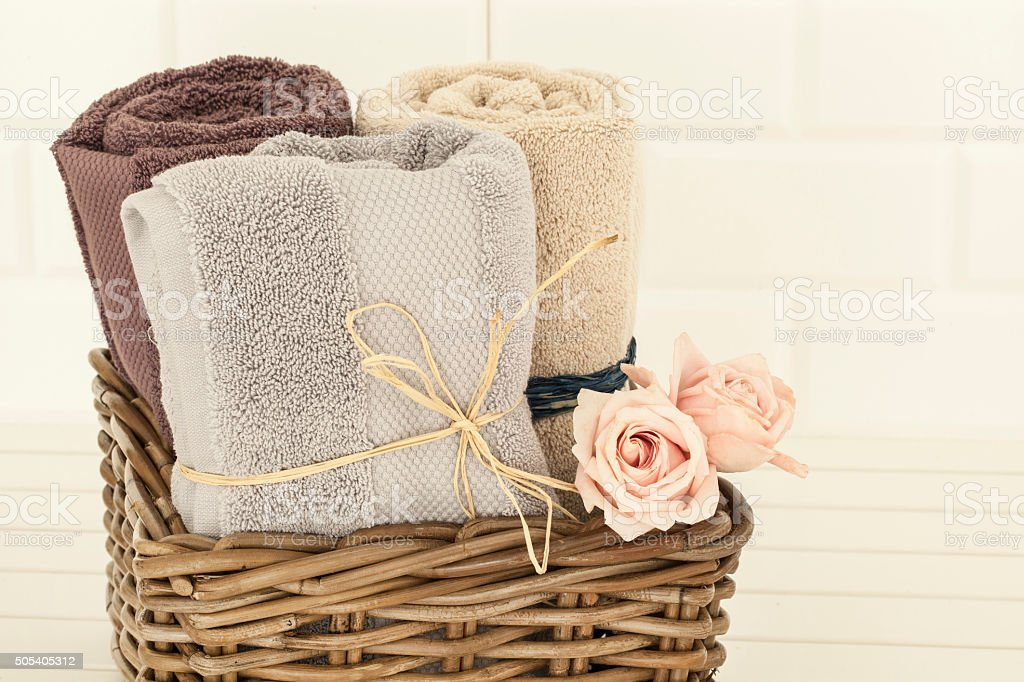 Towels and rose stock photo