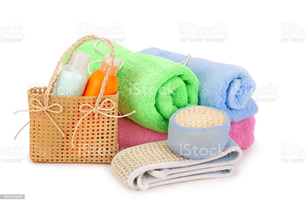 towels and shampoo stock photo