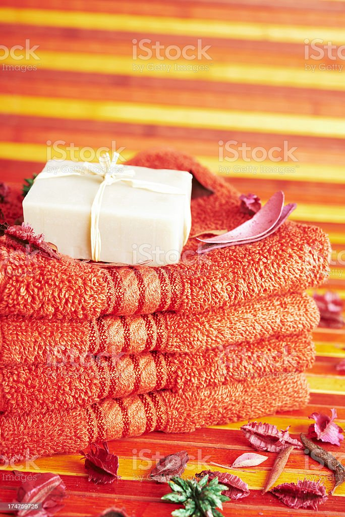 Towels and Soap royalty-free stock photo