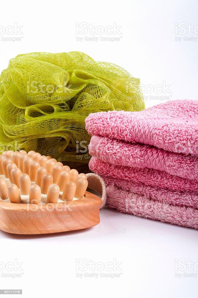 Towels, body sponge and wood brush royalty-free stock photo