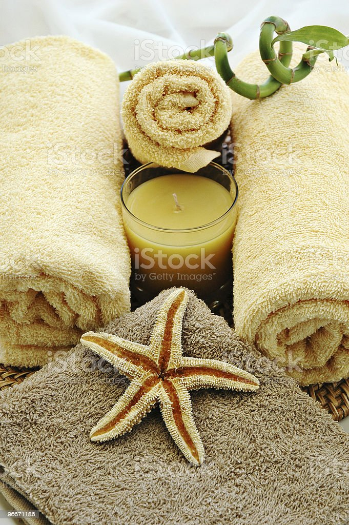Towels in a massage studio royalty-free stock photo