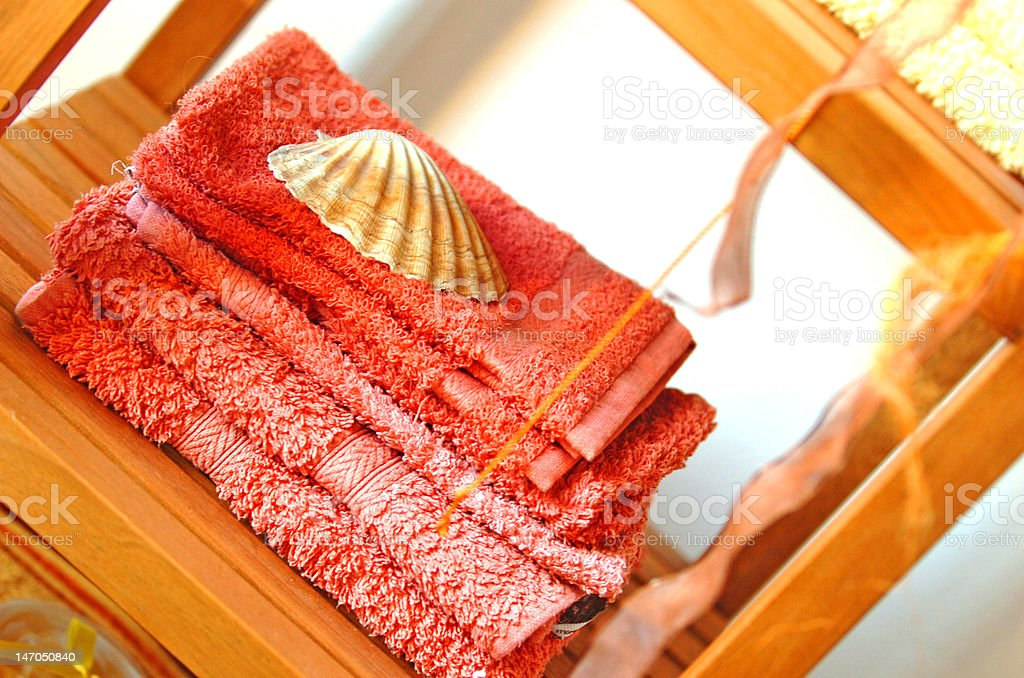 towels in spa room stock photo