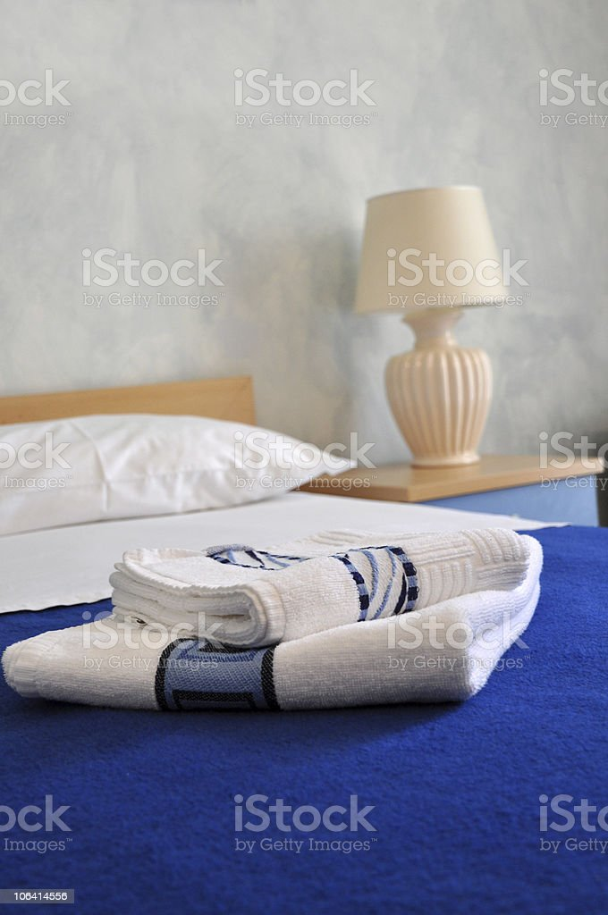 Towels on a Bed royalty-free stock photo
