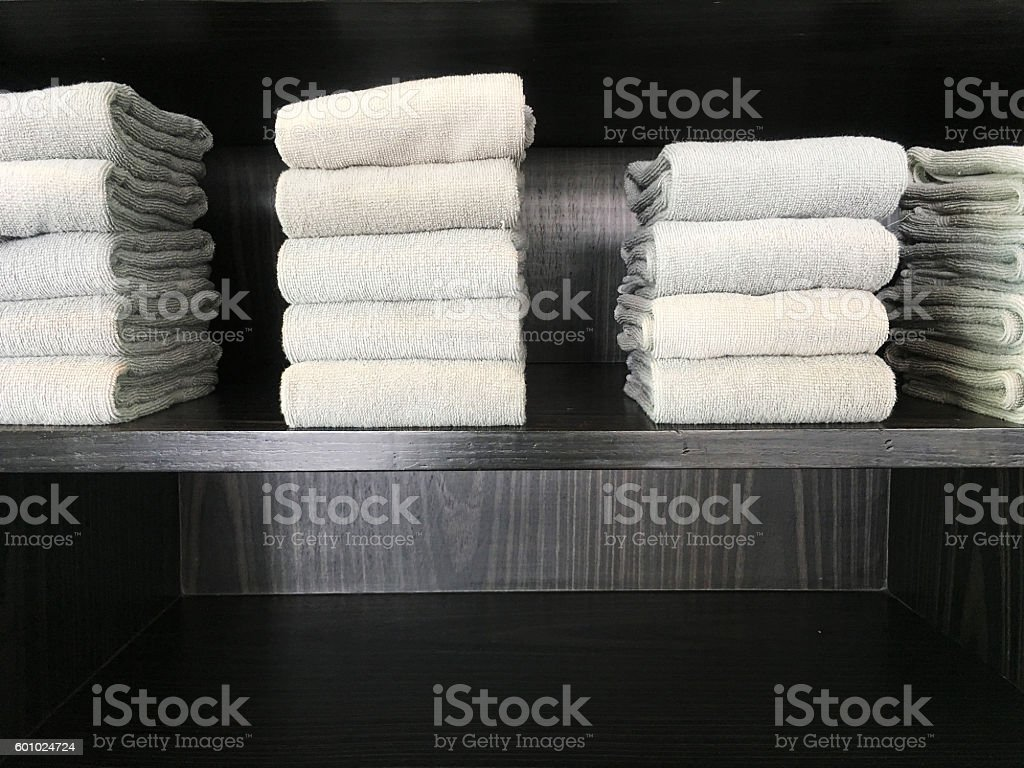Towels on shelf stock photo