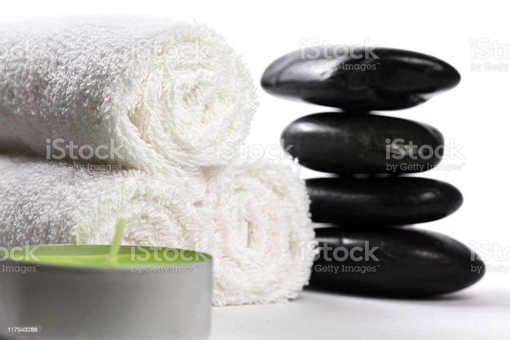 Towels with Lava Stones royalty-free stock photo