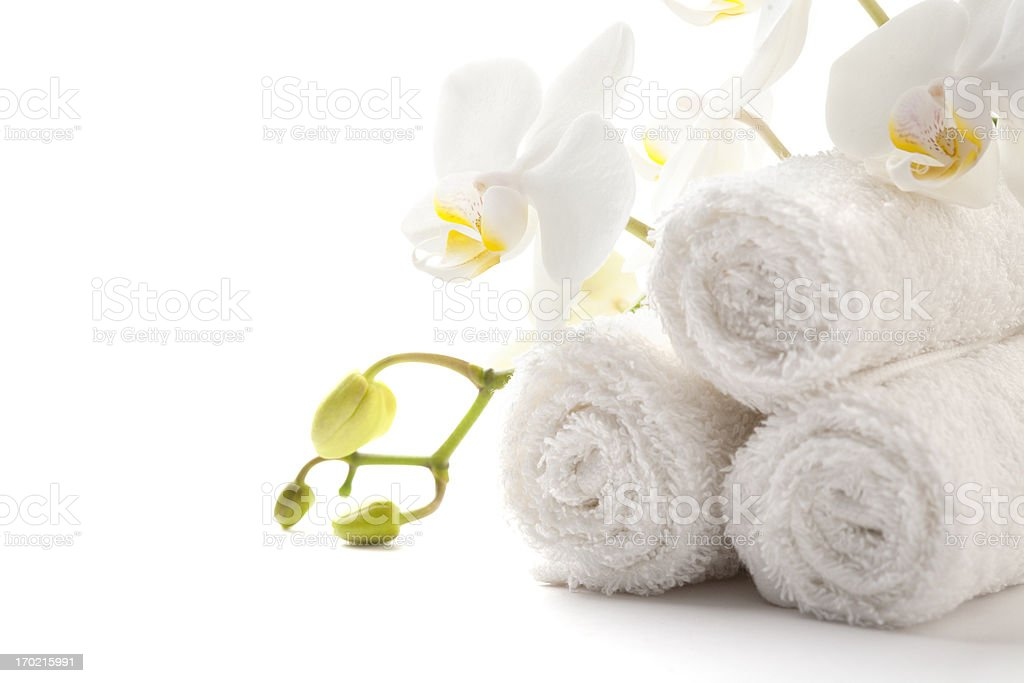 Towels with orchid royalty-free stock photo