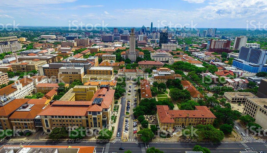 UT Tower Aerial over Campus University of Texas Austin stock photo