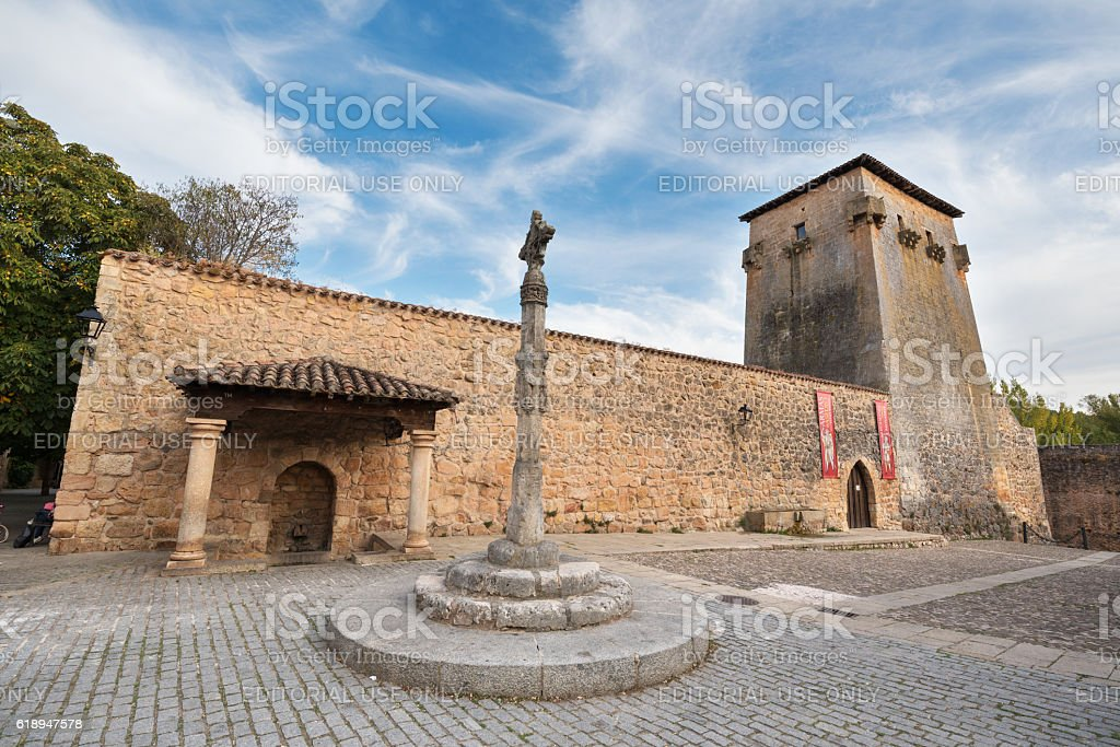 Tower and ancient fortress on in Covarrubias, Burgos, Spain. stock photo