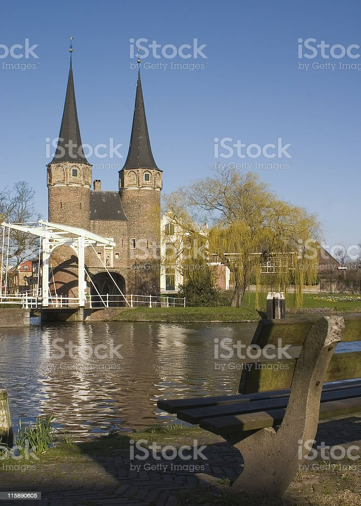 Tower and bench royalty-free stock photo