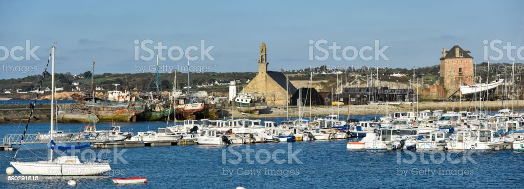 Tower and church of Camaret-sur-Mer. The tower is part of the defense of the Narrows of Brest, created by Vauban from 1683. UNESCO World Heritage Site stock photo