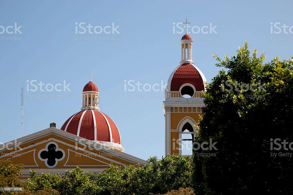 Tower and Dome of Granada Cathedral, Nicaragua stock photo