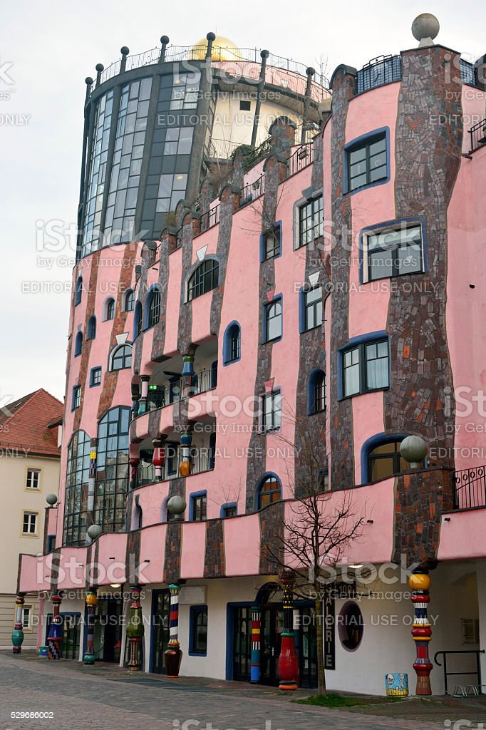 Tower and external side wall of Grune Zitadelle in Magdeburg stock photo