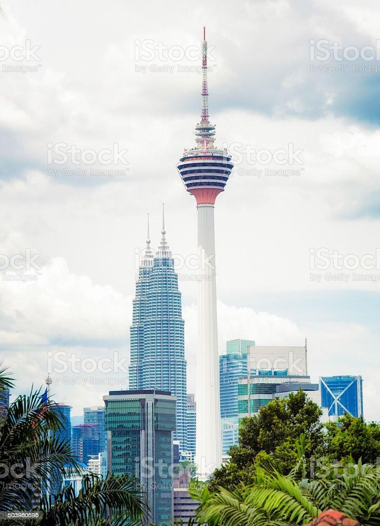 KL tower and Petronas tower skyline Kuala Lumpur Malaysia stock photo