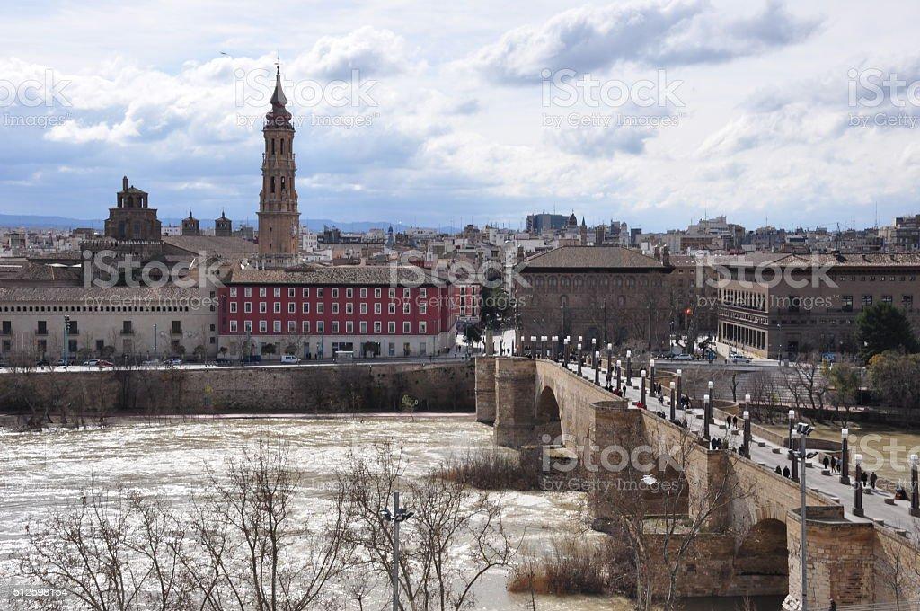Tower and river Ebro in Zaragoza stock photo