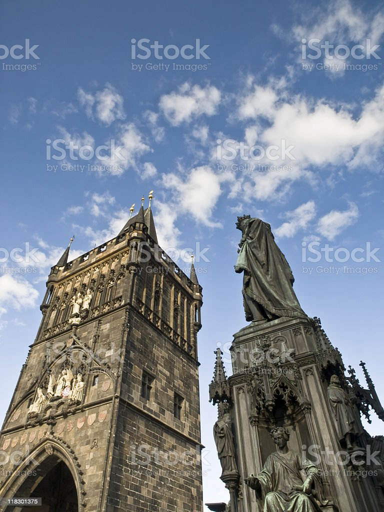 Tower and Statue of the Charles Bridge - Prague royalty-free stock photo