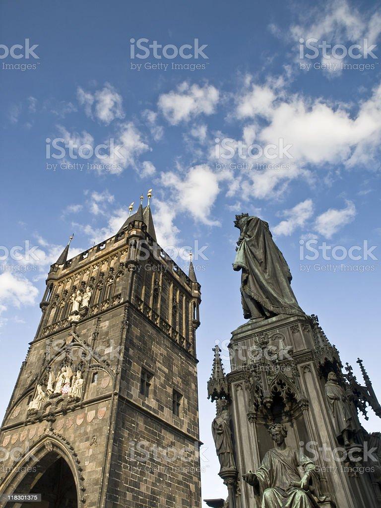 Tower and Statue of the Charles Bridge - Prague stock photo