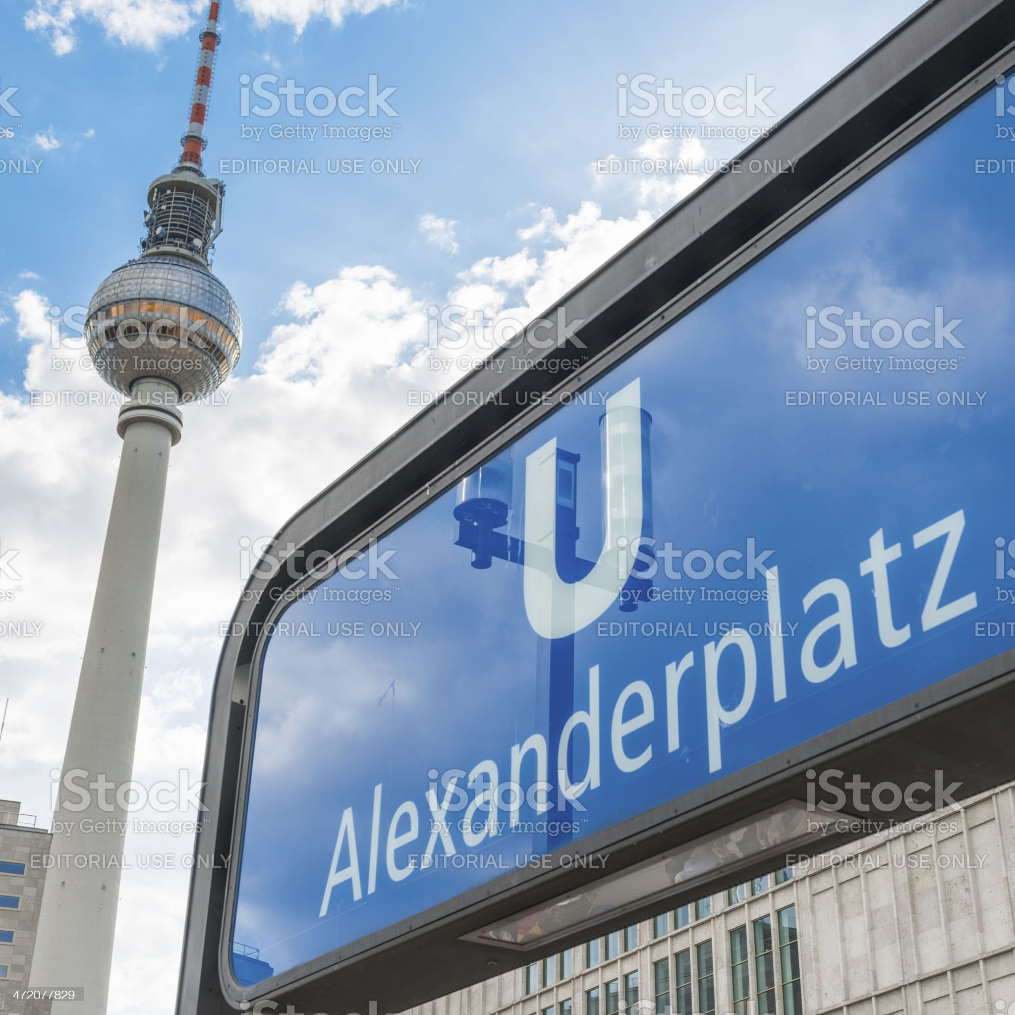 TV tower and the sign of Alexanderplatz u-bahn royalty-free stock photo