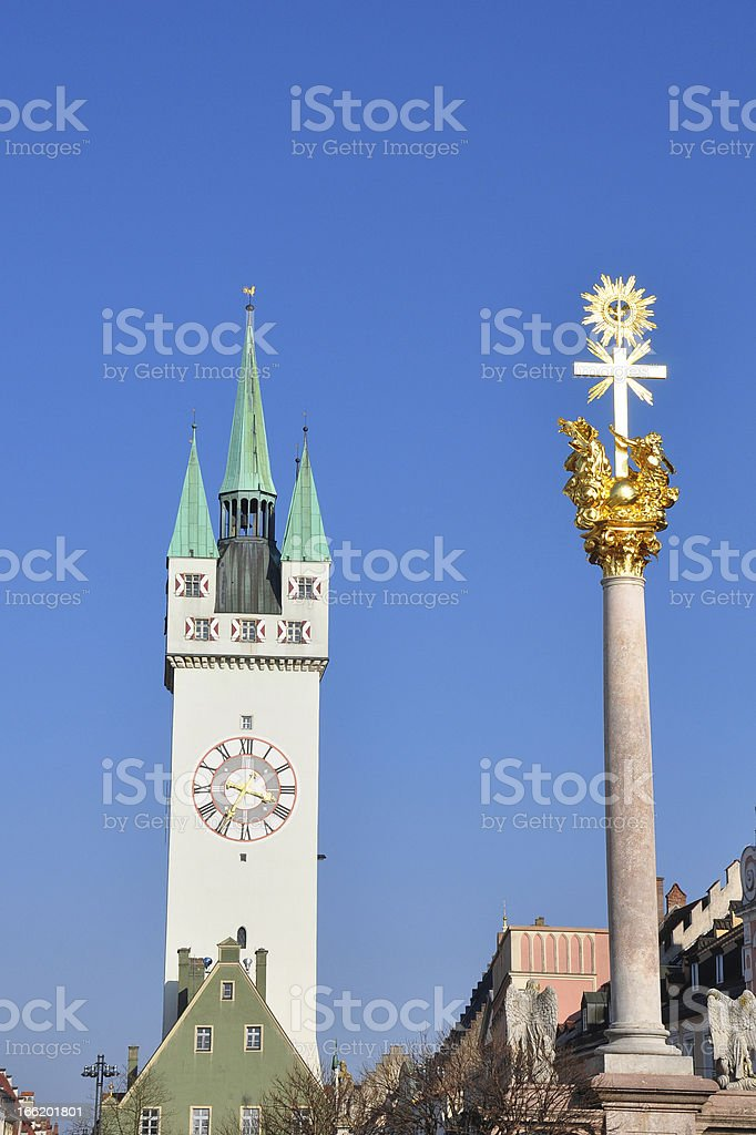 Tower and Trinity Column in Straubing, Bavaria stock photo