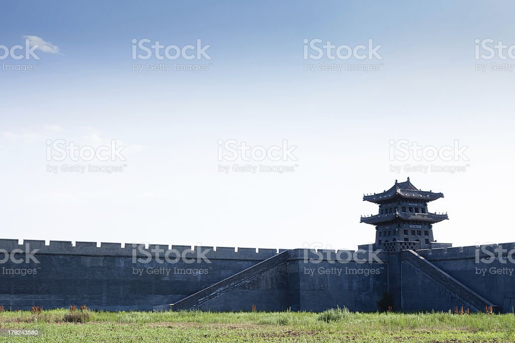 Tower and wall of Chinese traditional style stock photo