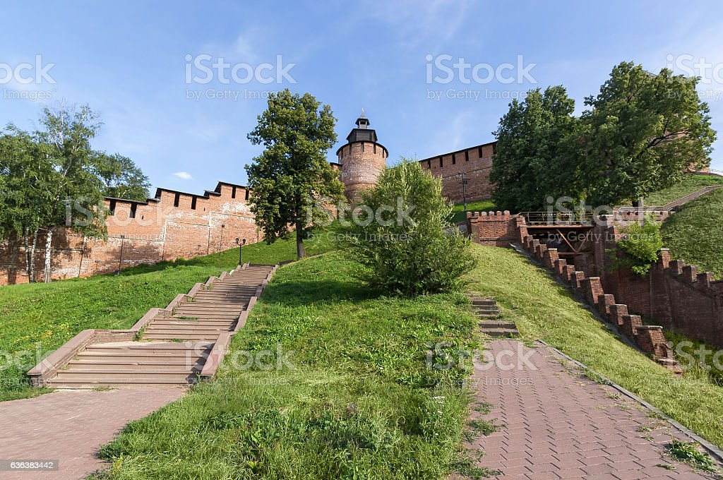 Tower and wall of Kremlin in Nizhny Novgorod is the stock photo