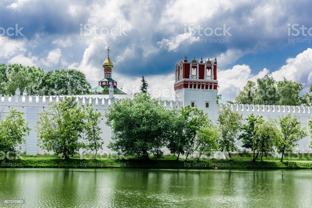 Tower and wall of the monastery stock photo