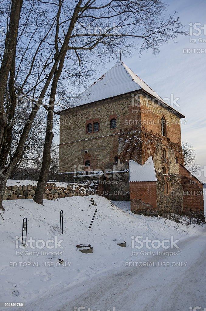 Tower and walls of Trakai history museum stock photo