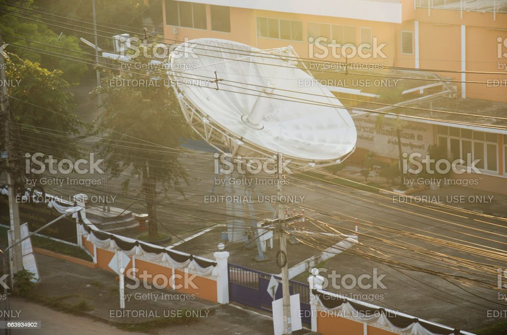Tower artesian aquifer and Broadcasting Services station Lampang city stock photo