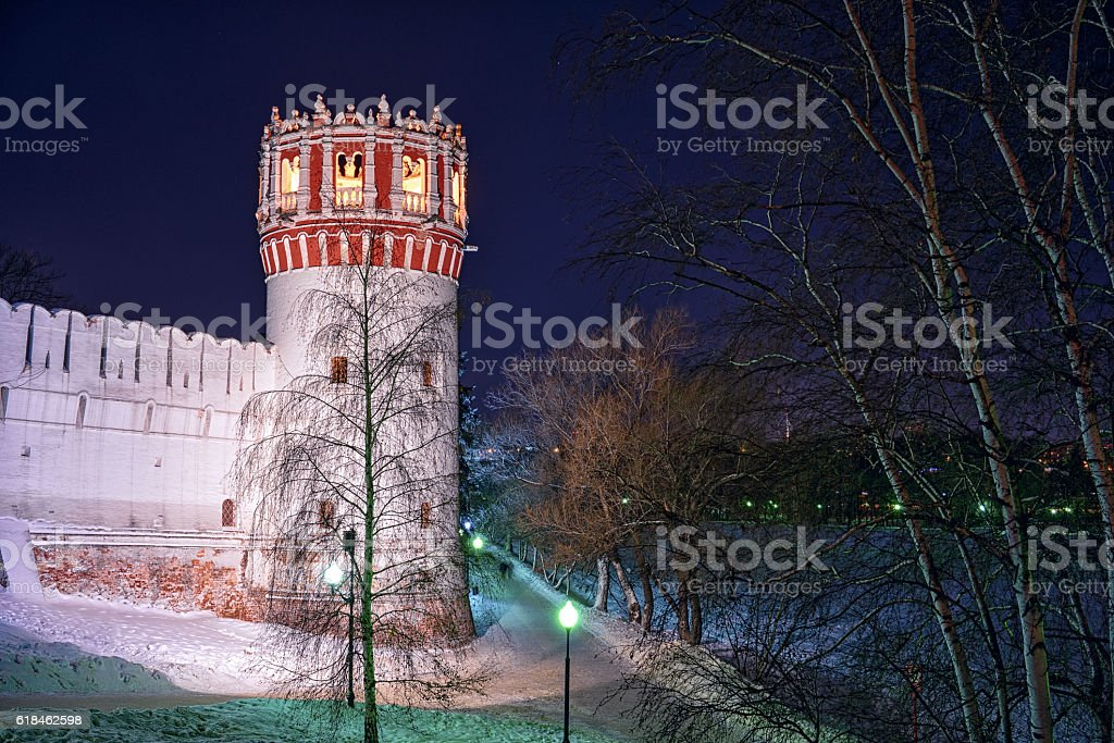 tower at Novodevichy Convent at night, Moscow, stock photo