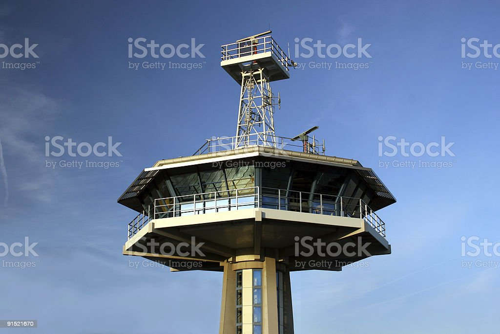 Tower at the harbor of Travem?nde stock photo