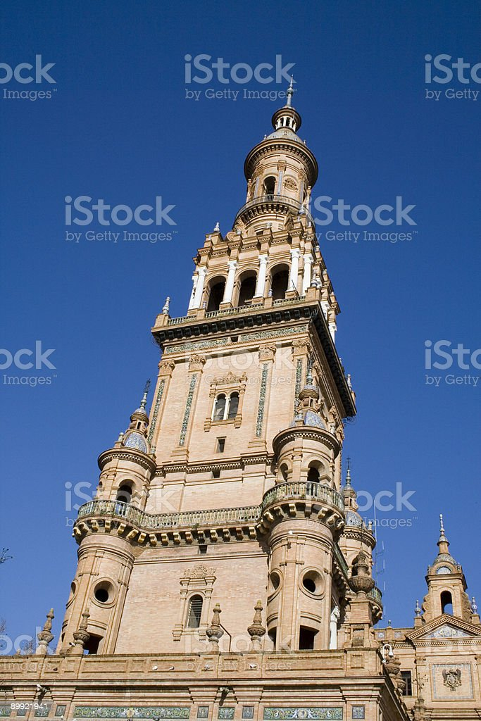 Tower at the Plaza de Espa?a in Seville stock photo