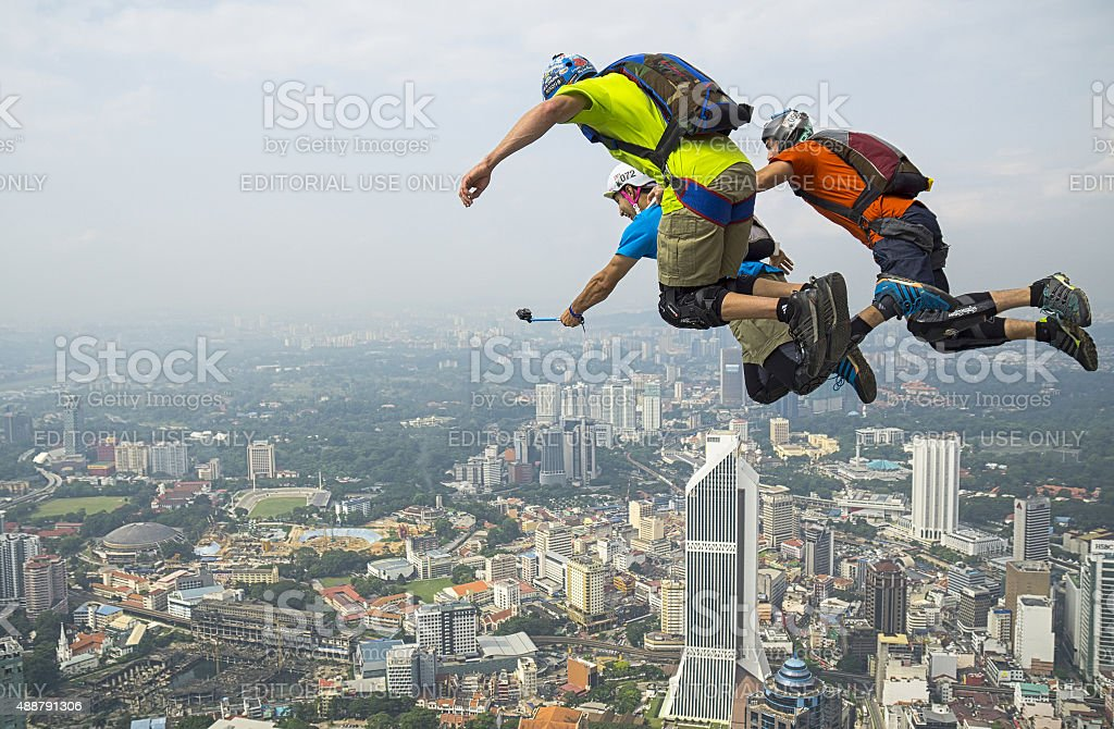 KL Tower BASE Jump stock photo