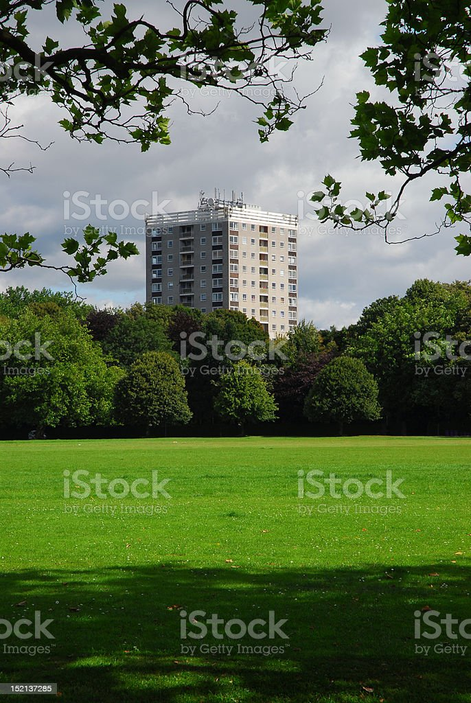 Tower Block Seen From A Park stock photo