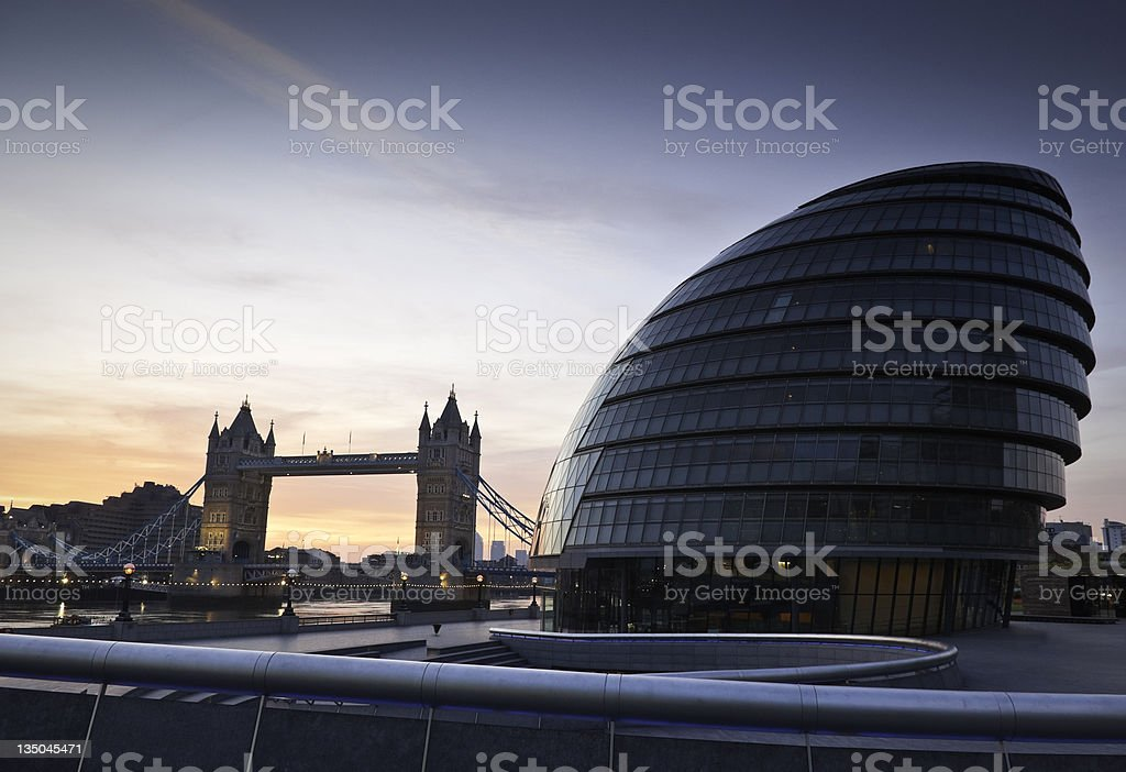 Tower Bridge & City Hall, London royalty-free stock photo