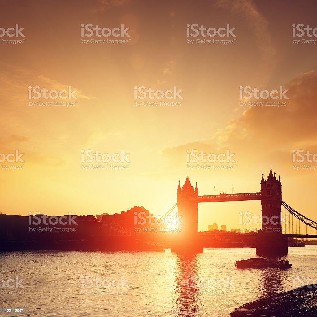 Tower Bridge & Thames river at dawn royalty-free stock photo