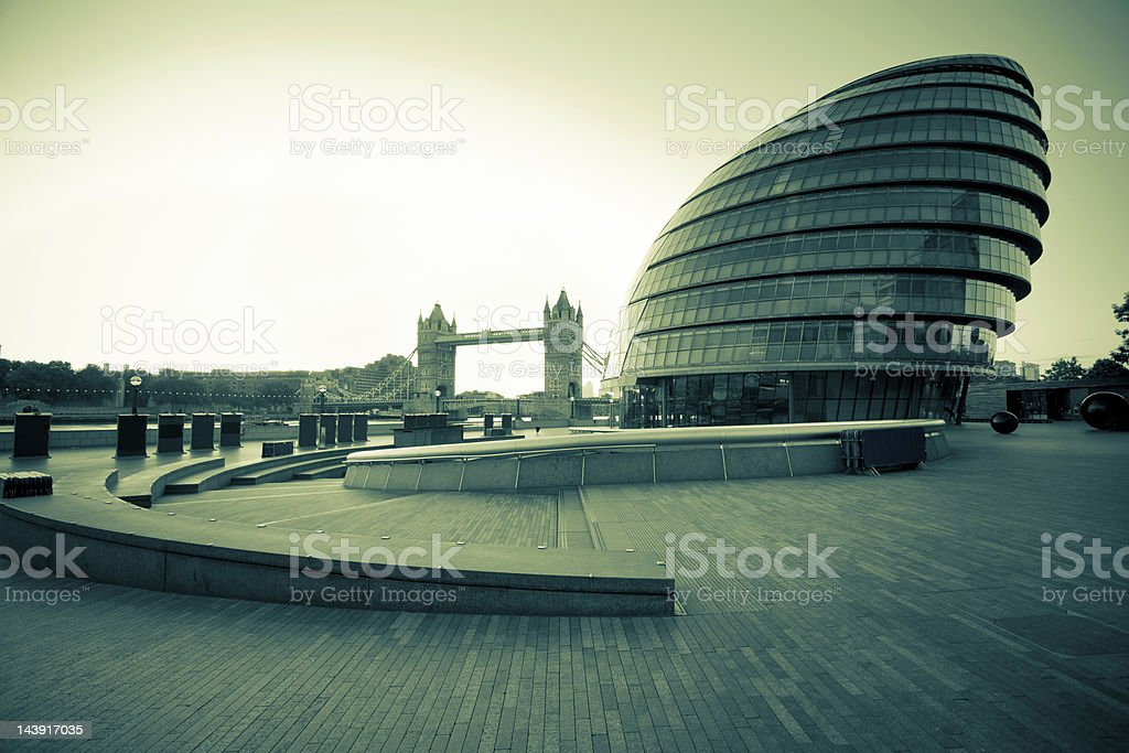 Tower Bridge and City Hall in London, International Landmarks royalty-free stock photo